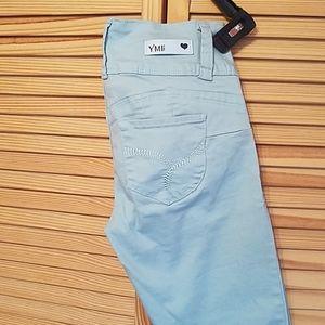 Junior 3 button high rise flood stretch jeans